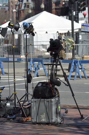 bombings: Detail of news camera for video of Boston Bombings April 2013