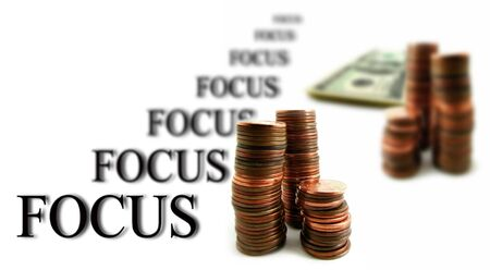 Whitebackground with money for business focus on success Stock Photo