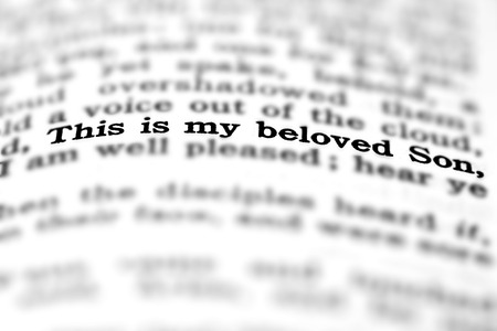 devotions: Detail closeup of New Testament Scripture quote This is My Beloved Son