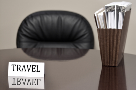 get away: Business card on desk for travel with files vacation get away relax enjoyment planning