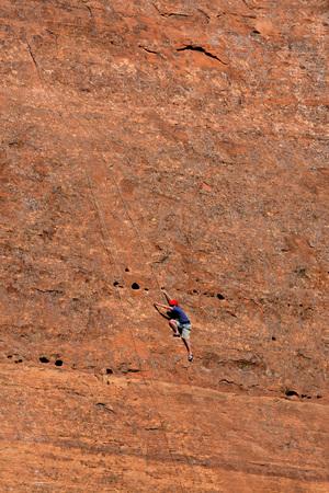 rapelling: Rock climbing on sandstone in Southwest United States