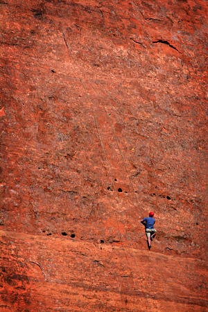 rapelling: Rock climbing on sandstone in Southwest United States