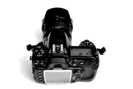 Detail of digital camera dslr slr lens and screen cover