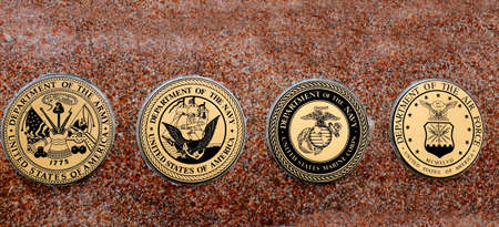 us army: Detail of symbols of USA military army navy airforce marines Stock Photo