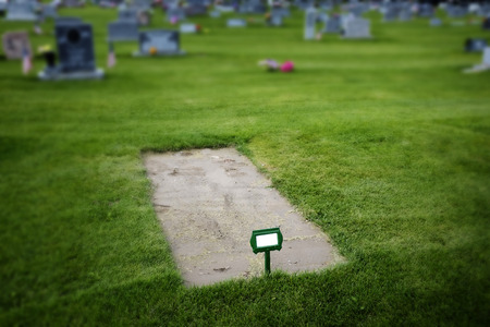 Freshly dug grave site in cemetery headstones and green grass