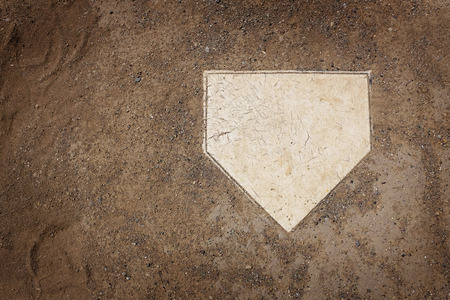 Home plate on baseball field with copy space Foto de archivo