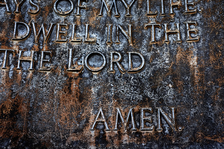 Closeup of Sculpture of the Lords Prayer Psalm 23 Stock Photo