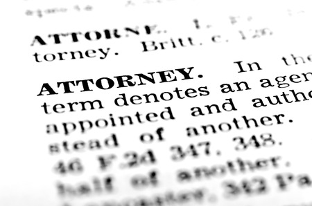 fair trial: Closeup definitin of attorney in book lawyer words book Stock Photo