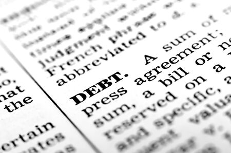 Thw rod debt with definition from dictionary for finances and money Imagens - 44241556