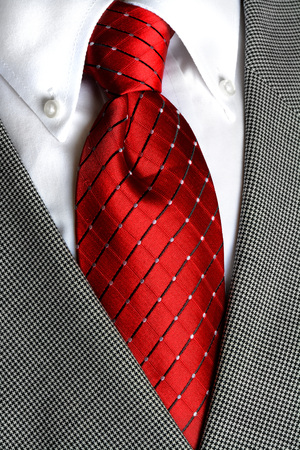 dress shirt: White dress shirt with red tie detailed closeup Stock Photo