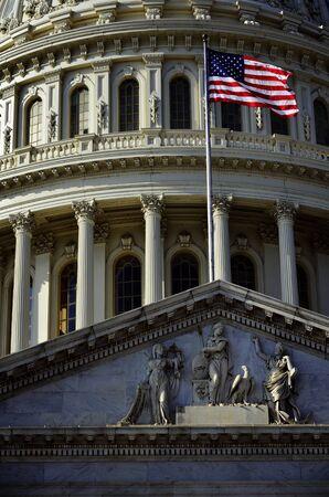 legislature: US Capital Building in Washington DC with Flag Flying Stock Photo