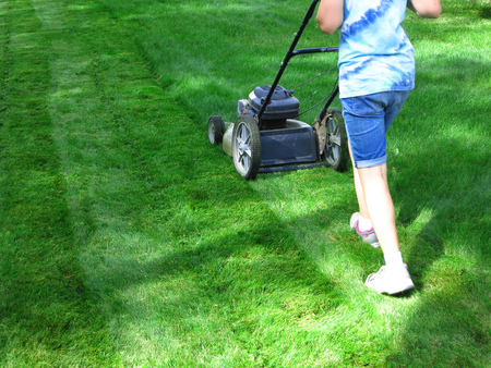 push: Young Girl Mowing green grass lawn with push mower