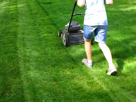 push: Young Girl Mowing green grass lawn with push lawn mower