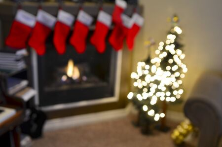 Christmas Stockings and Fireplace Out of Focus for Background