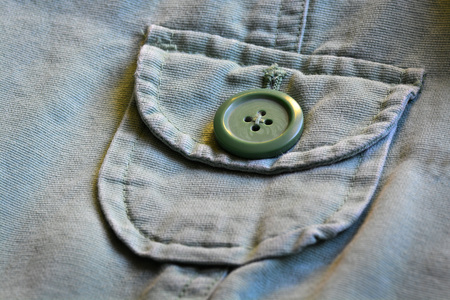 macros: Detailed closeup macro of green button on green jacket