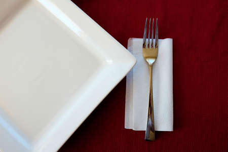 silver reflection: Fork silverware with white plate on red background dinner setting