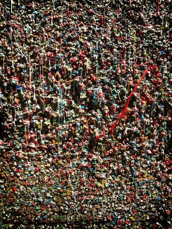 Detail of Gum Wall near Pikes Place Market in Seattle Washington USA