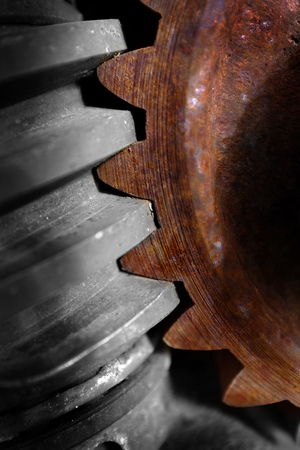 cog gear: Steel gear cog rusted with teeth in machinery Stock Photo