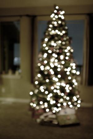 tree detail: Detail of christmas tree lights defocused focus blurry Stock Photo