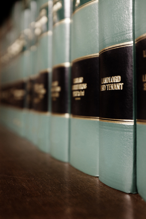 Close up of several volumes of law books of codes Stock Photo