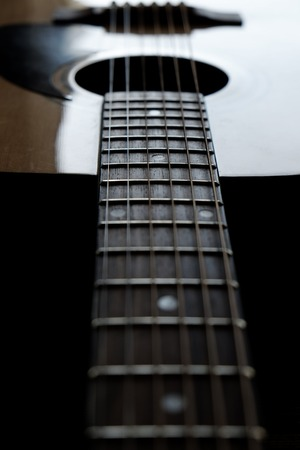 strat: Closeup detail of guitar strings for playing music instrument talent strum strumming Stock Photo