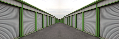 storage units: Detail of storage units building with sliding garage style doors Stock Photo