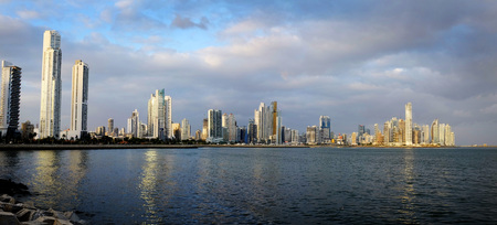 Detail panorama of Panama City Buildings Skyline and Bay Ocean 版權商用圖片