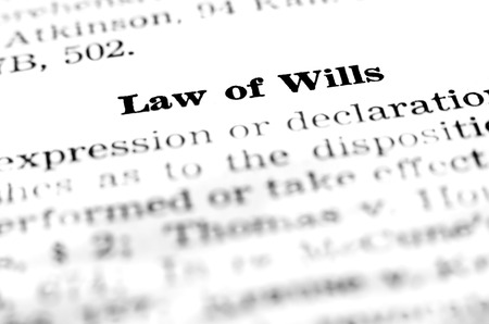 Law of wills definition dealing with estate planning Stock Photo