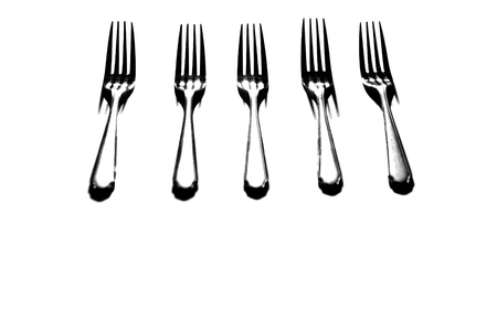 tine: Silverware forks isolated on white background Stock Photo