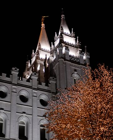 lds: Salt Lake City Temple Square Christmas Lights on Trees and Steeples