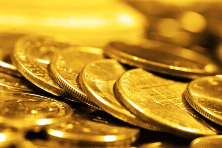 goldbars: Pile of old coins representing wealth and luxary Stock Photo