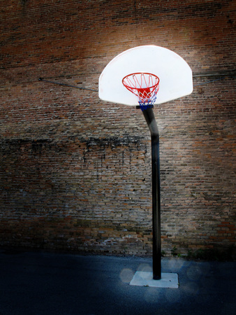 swish: Basketball hoop in old playground with buildings