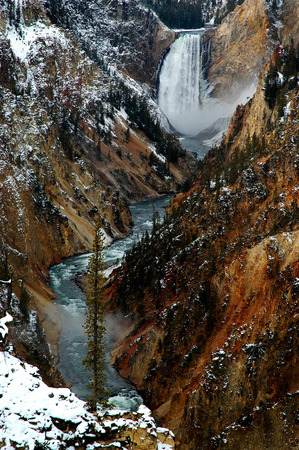 lower yellowstone falls: Lower yellowstone falls waterfall gorge canyon steep water river