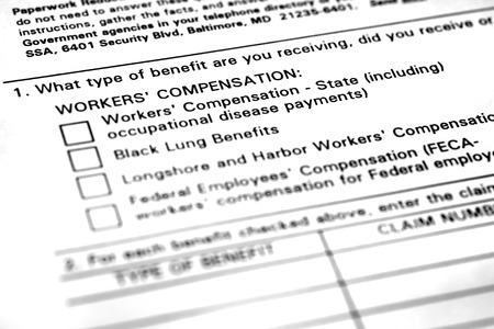 Worker's Compensation Form for Benefits Injured Worker Zdjęcie Seryjne