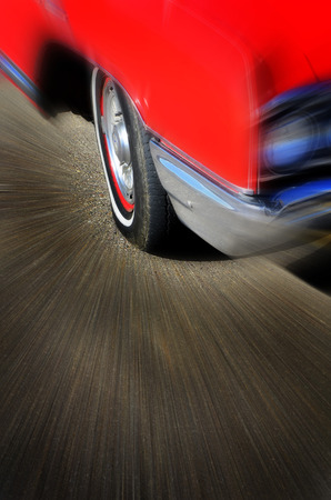 speed car: Red car zooming effect for motion speed and driving on road