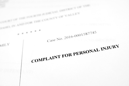 Detail of legal papers Complaint for Personal Injury pleadings lawyer Standard-Bild