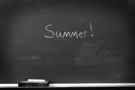 chalk eraser: Chalkboard with chalk eraser marks in white chalk Summer Sign