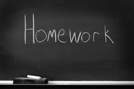 chalk eraser: Chalkboard with chalk eraser marks in white chalk Homework Sign