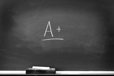chalk eraser: Chalkboard with chalk eraser marks in white chalk A+ Sign
