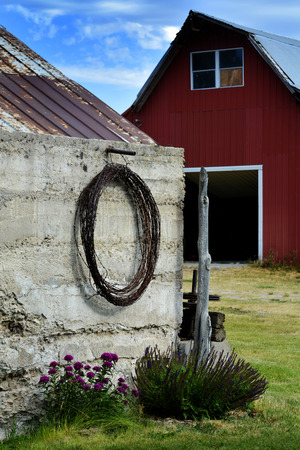 cattle wire wire: Old barn in country side with roll of barbed wire Stock Photo
