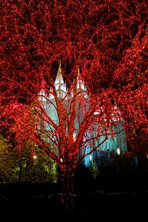 lds: Temple Square Salt Lake City Utah with Christmas Lights Celebration for Christs Birth Stock Photo