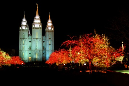 Stock Photo   Temple Square Salt Lake City Utah With Christmas Lights  Celebration For Christu0027s Birth