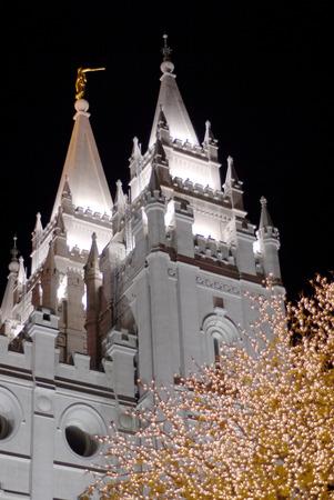 lds: Salt Lake City Mormon Temple LDS latter day saint at night Stock Photo
