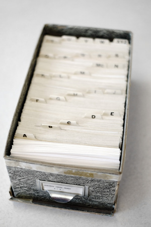 indexing: Index cards for business school home library organization