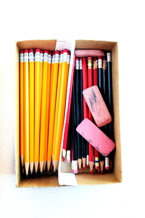 school work: Pencils for work business or school in box with erasers