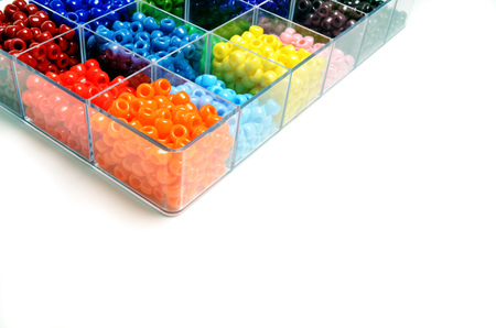 the trappings: Colorful beads in bins for creating projects of art