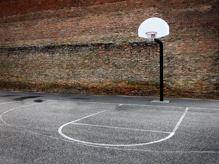 Basketball hoop in urban setting downtown city hood