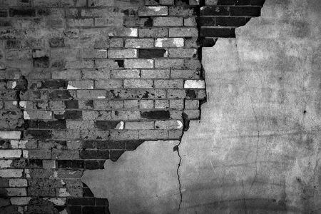 Old Wall with Bricks and Stucco Plaster Falling Apart Texture Crumbling Stock Photo