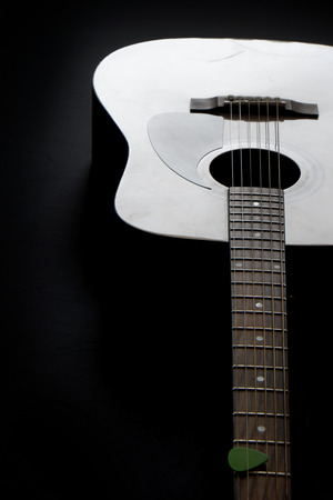 Detail of guitar musical instrument for playing music 스톡 콘텐츠