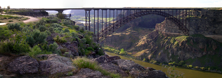 rafters: Bridge over river in a canyon or gorge narrow valley
